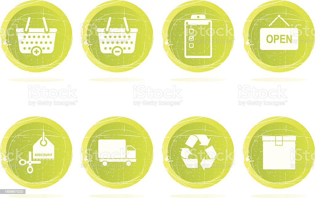Grunge Shopping Icons royalty-free grunge shopping icons stock vector art & more images of basket
