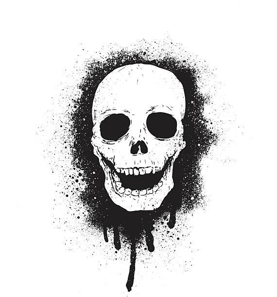 grunge skull vector art illustration