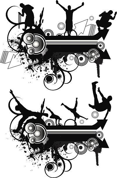 bildbanksillustrationer, clip art samt tecknat material och ikoner med grunge sound street - parkour