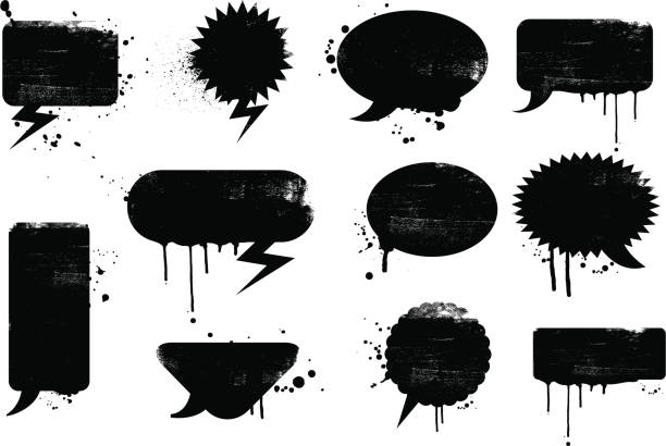 Grunge speech bubbles vector art illustration