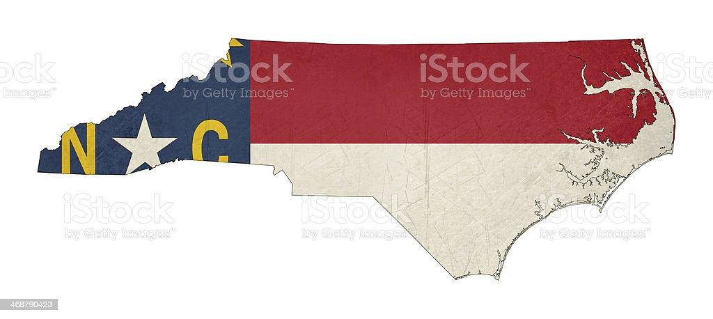 Grunge state of North Carolina flag map vector art illustration