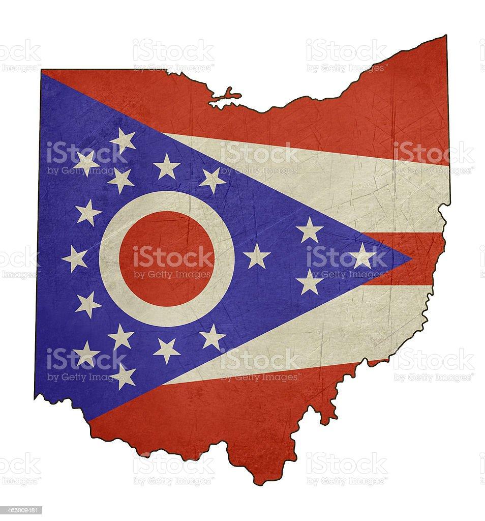 Grunge state of Ohio flag map vector art illustration