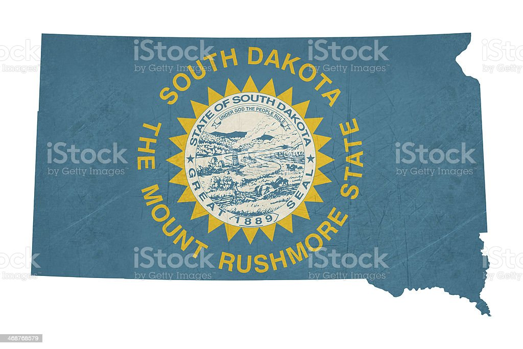Grunge state of South Dakota flag map vector art illustration
