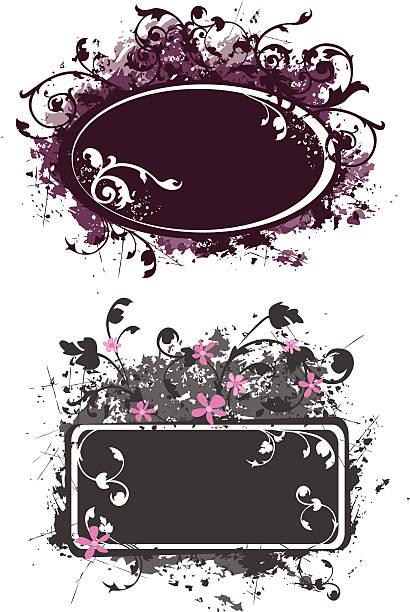 grunge style floral design banners vector art illustration