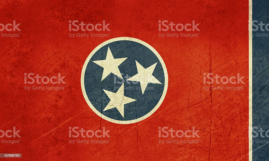 Grunge Tennessee state flag vector art illustration