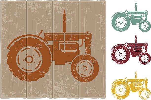 Grunge tractor sign vector art illustration