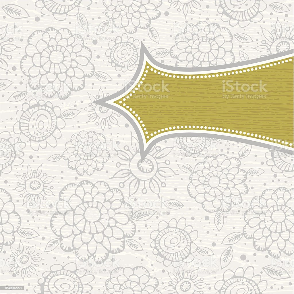 grunge wooden grey background with pattern of hand draw  flowers royalty-free stock vector art