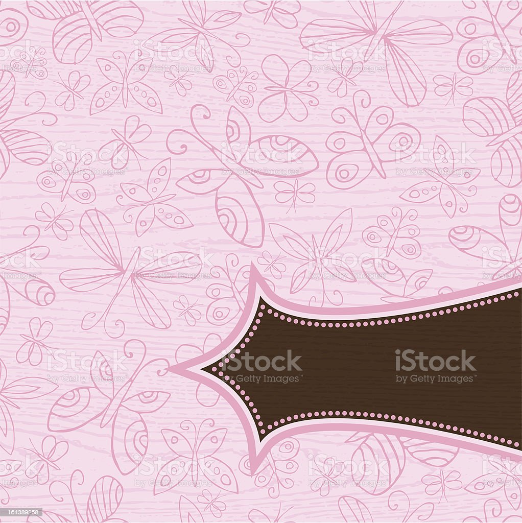 grunge wooden pink background with  hand draw  butterflies royalty-free stock vector art