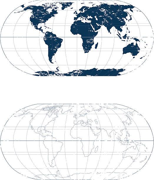 Grunge Welt in mono-Karte. – Vektorgrafik