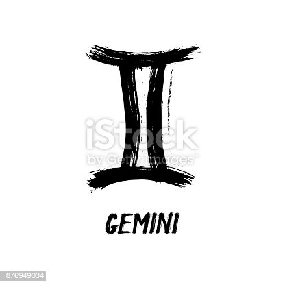 Grunge Zodiac Signs Gemini The Twins Stock Vector Art More Images