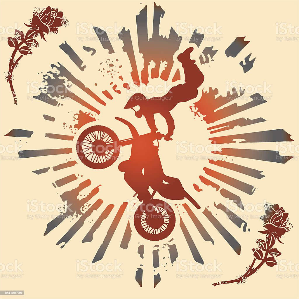 grungy motorcycle graphic royalty-free stock vector art