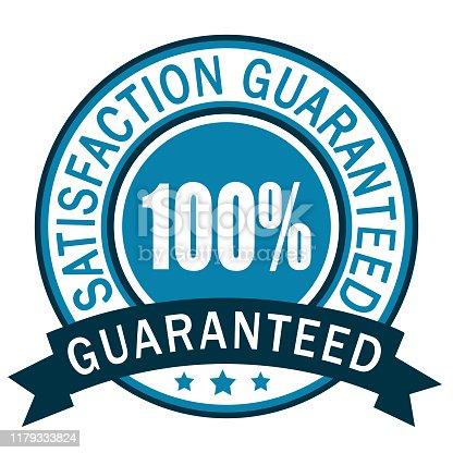 100% Guaranteed. Satisfaction guaranteed badge label. Blue icon.