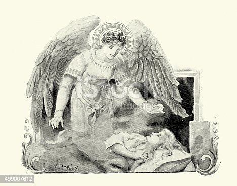 Vintage engraving of a Guardian Angel looking after a sleeping child