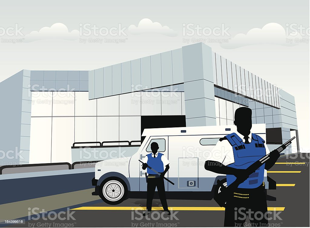 Guards and armored truck vector art illustration