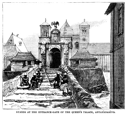 Guards at the entrance gate of the Queen's Palace, Antananarivo, Madagascar