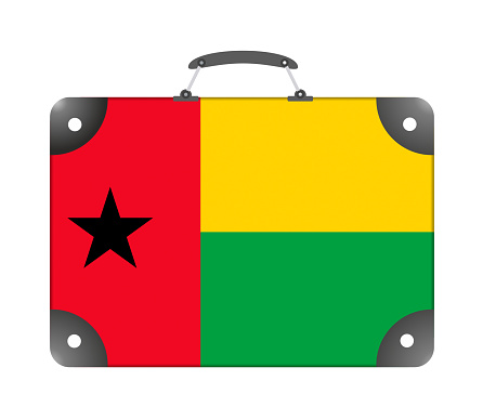 Guinea-Bissau flag in the form of a travel suitcase on a white background