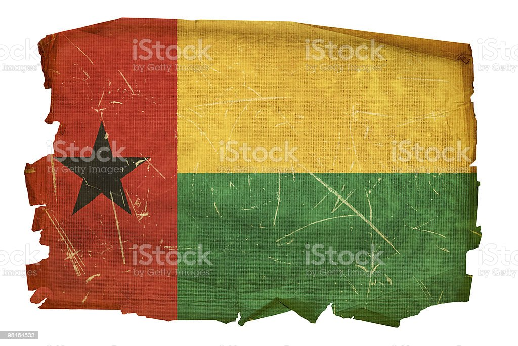 Guinea-Bissau Flag old, isolated on white background. royalty-free guineabissau flag old isolated on white background stock vector art & more images of aging process