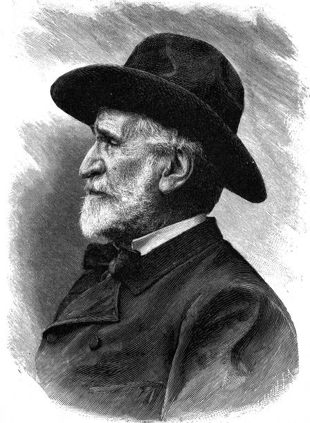 guiseppe verdi, italian composer, 1813 - 1901 - old man portrait drawing stock illustrations, clip art, cartoons, & icons