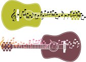 2 versions of a guitar overlaid with musical notes.
