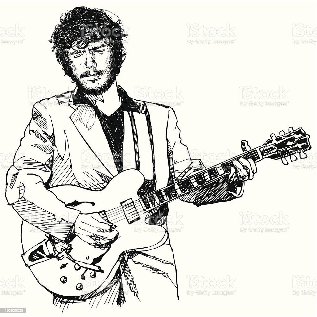 guitar player vector art illustration