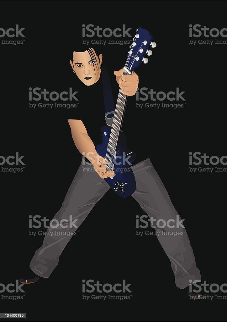 Guitar player vector art illustration