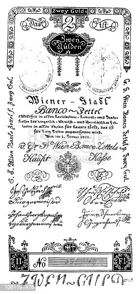 Illustration of 2 Gulden 1800 ,first paper money used in the Austro-Hungarian Empire in the years 1762-1811