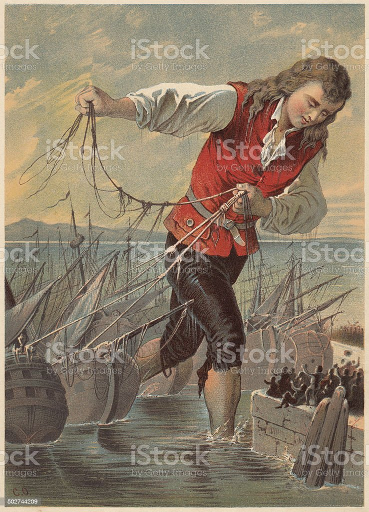 Gulliver captured the enemy's fleet by the Blefuscudians, lithograph, c.1880 royalty-free gulliver captured the enemys fleet by the blefuscudians lithograph c1880 stock vector art & more images of adventure