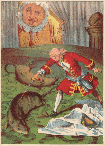 Gulliver fights against rats, lithograph, published in 1882