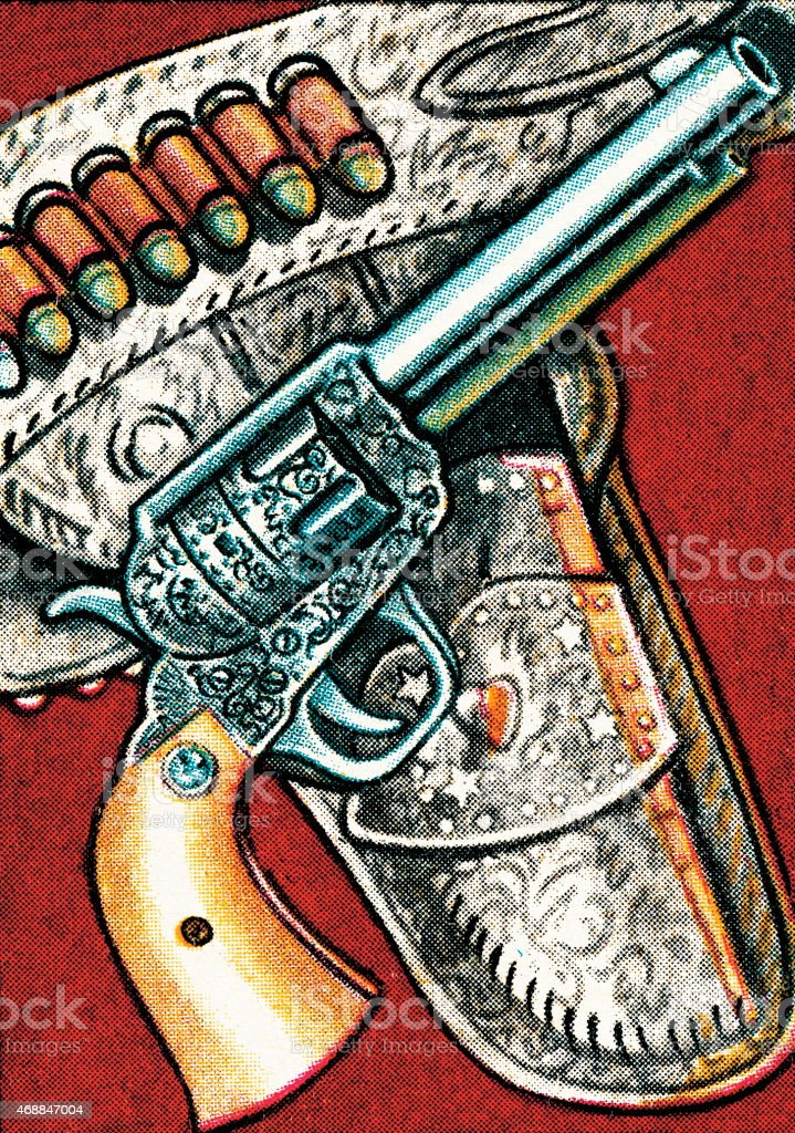 Gun and holster vector art illustration