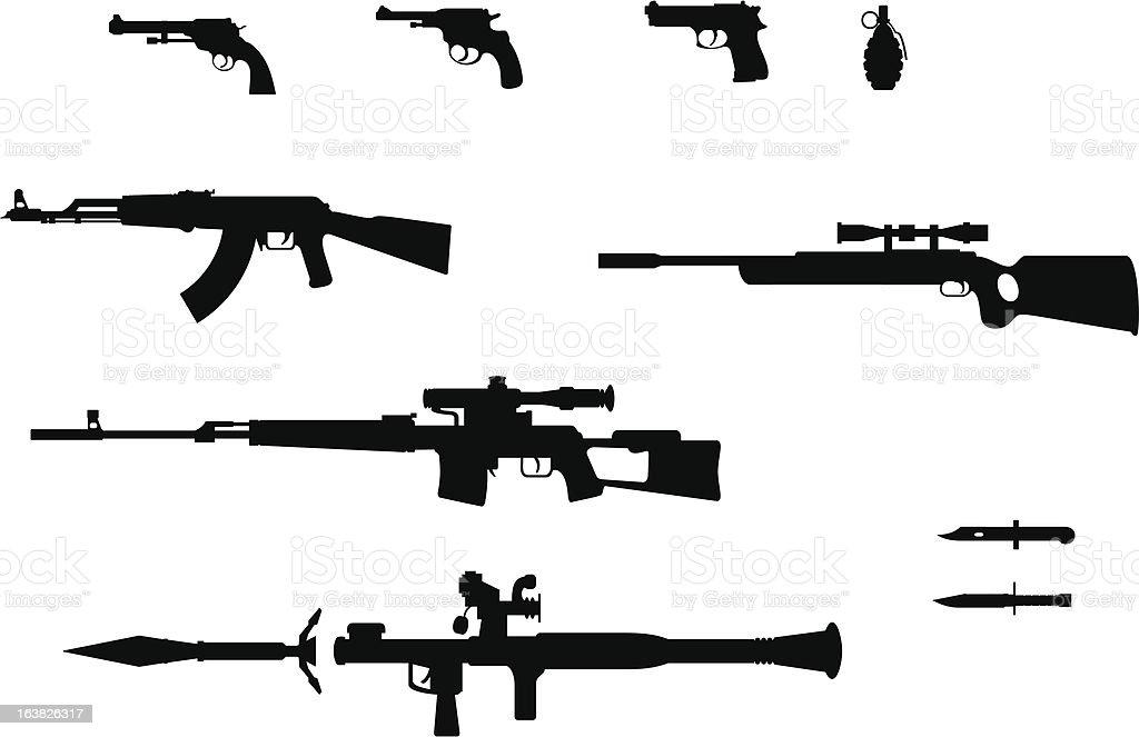Gun silhouettes set vector art illustration