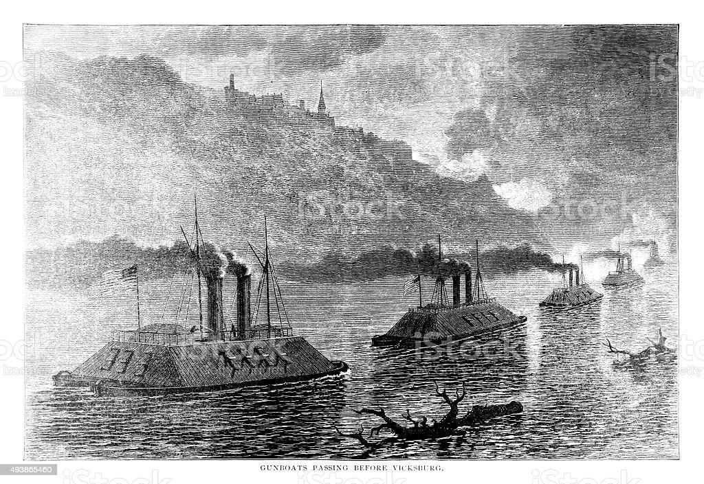 Gunboats Passing Before Vicksburg vector art illustration