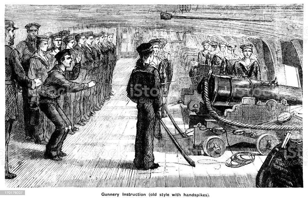 Gunnery instruction on board ship royalty-free gunnery instruction on board ship stock vector art & more images of 1850-1859