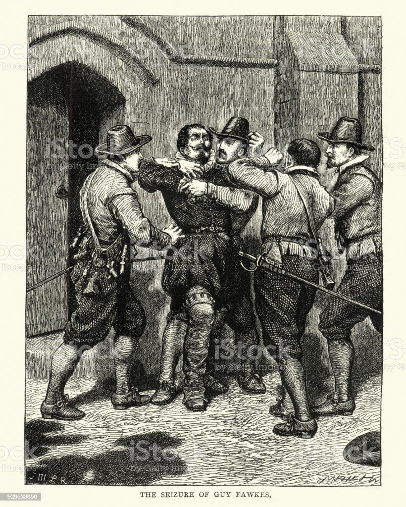 Gunpowder Plot, Guy Fawkes being arrested vector art illustration