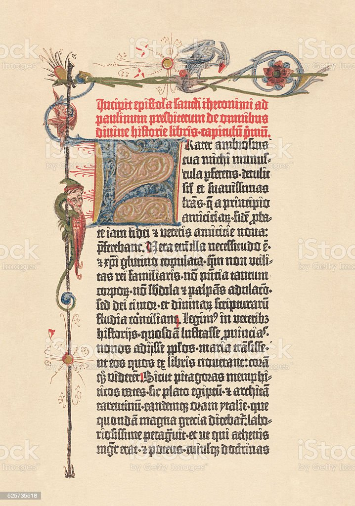 Gutenberg Bible, 42-line Bible (1452/54), lithograph, published in 1882 vector art illustration