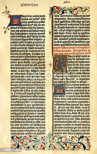 Gutenberg Bible ( 42 line arround 1455 ) Introduction to gospel Lucas rhyme 1-11 Original edition from my own archives Source :