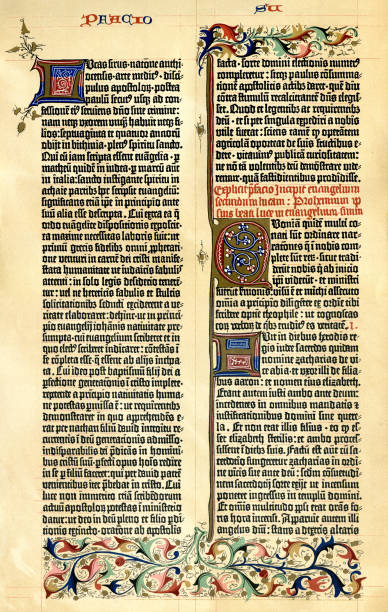 Gutenberg Bible page with text 15th century vector art illustration
