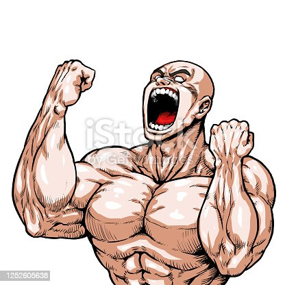 Guts, bald, skinhead, graphic novel, cartoon, muscle, bodybuilding, macho, pose, front view, white background,