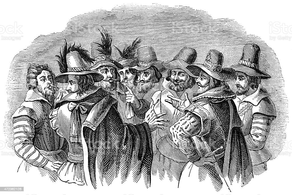 Guy Fawkes and his fellow conspirators vector art illustration