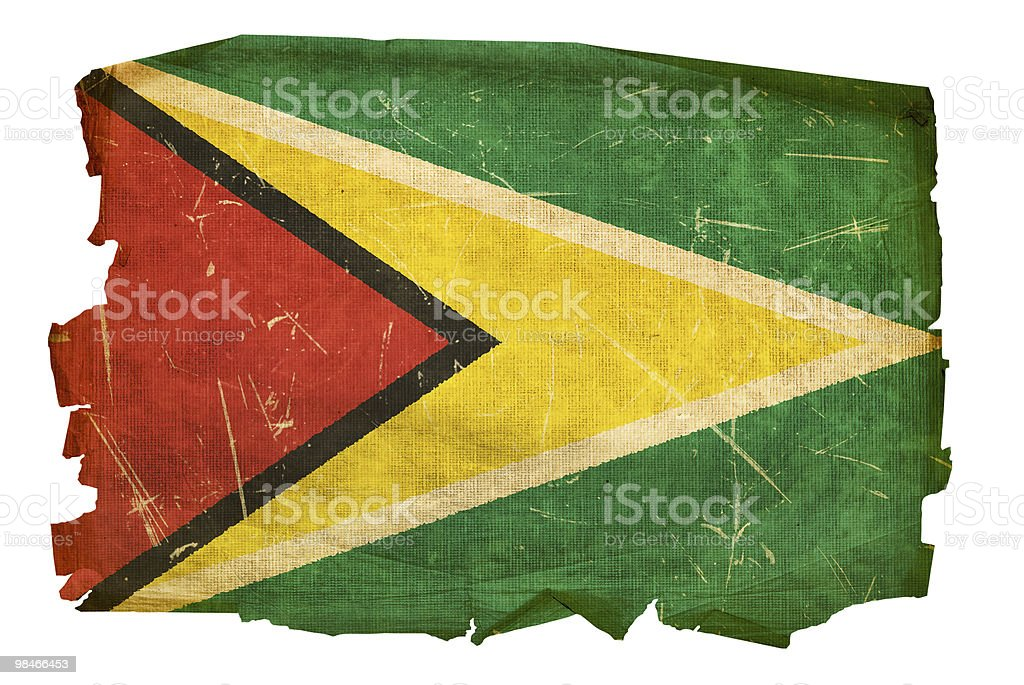Guyana Flag old, isolated on white background. royalty-free guyana flag old isolated on white background stock vector art & more images of aging process