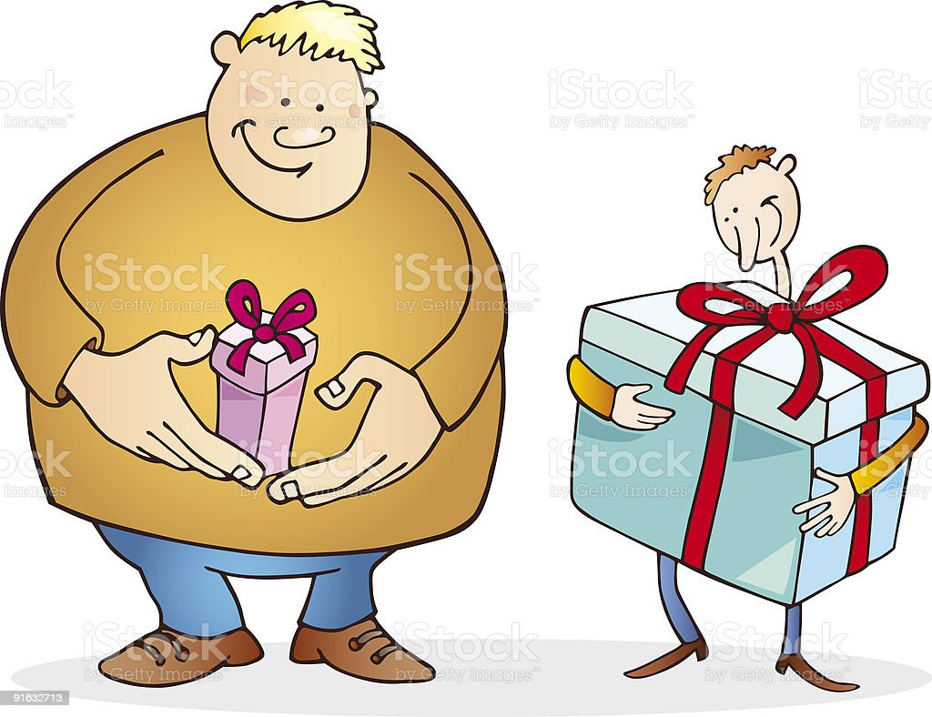guys big and thin with present royalty-free stock vector art
