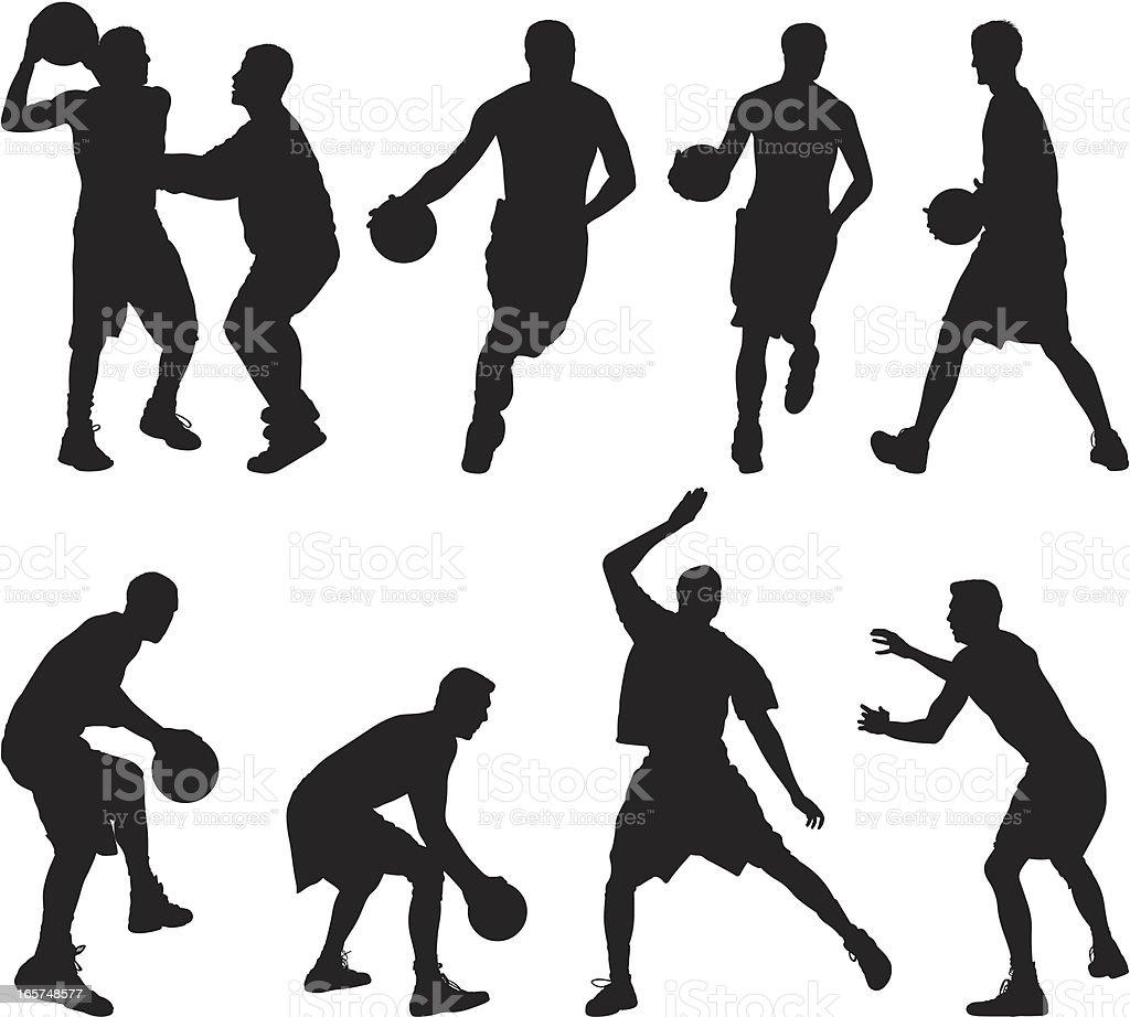 Guys playing basketball vector art illustration