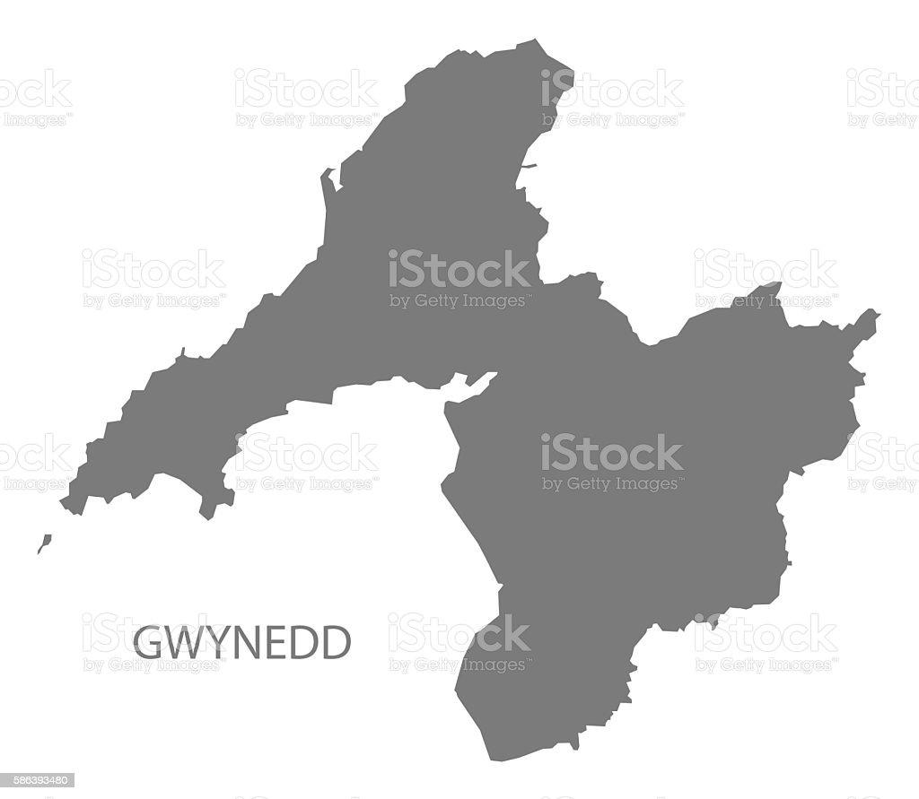 Gwynedd Wales Map grey vector art illustration