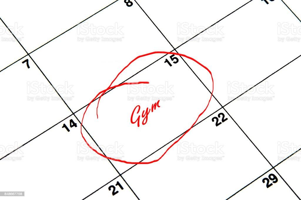 Gimnasio en círculo en un calendario en rojo - ilustración de arte vectorial