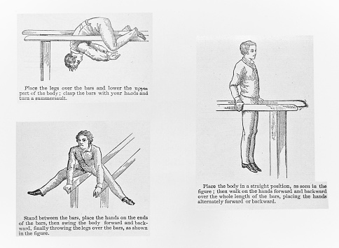 Men demonstrate how-to maintain a healthy body through exercising on parallel bars. Series. Illustration published in Royal Manual by Henry Davenport Northrop (The Dallas Book Publishing Co.: Dallas, Texas) in 1891.