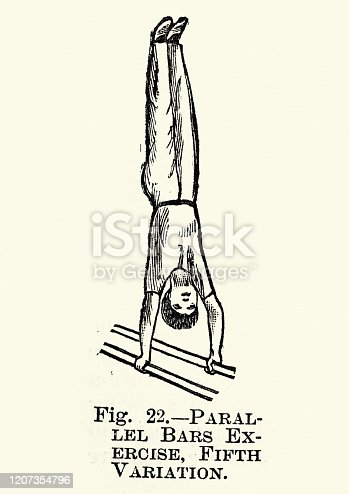 Vintage engraving of Gymnastics, Parallel bars, Exercise fifth variation, Victorian sports 19th Century