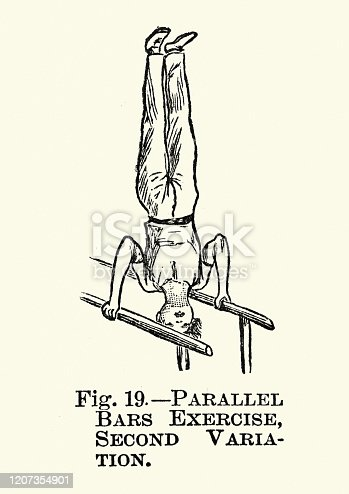 Vintage engraving of Gymnastics, Parallel bars, Exercise second variation, Victorian sports 19th Century
