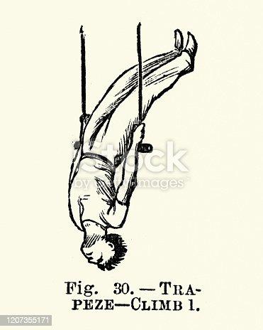 Vintage engraving of Gymnastics, Trapeze, Climb 1, Victorian sports 19th Century