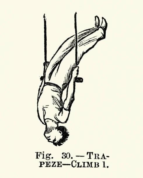 Gymnastics, Trapeze, Climb 1, Victorian sports 19th Century vector art illustration