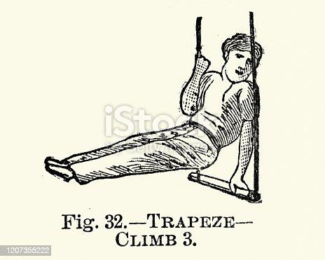 Vintage engraving of Gymnastics, Trapeze, Climb 3, Victorian sports 19th Century
