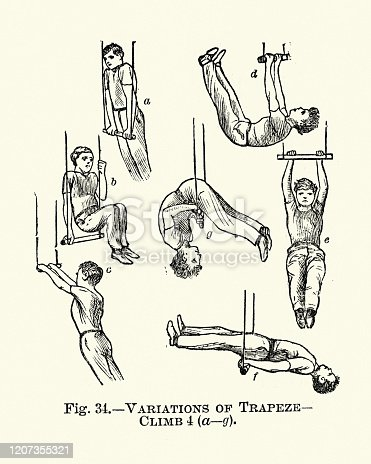 Vintage engraving of Gymnastics, Trapeze, Variations of climb, Victorian sports 19th Century